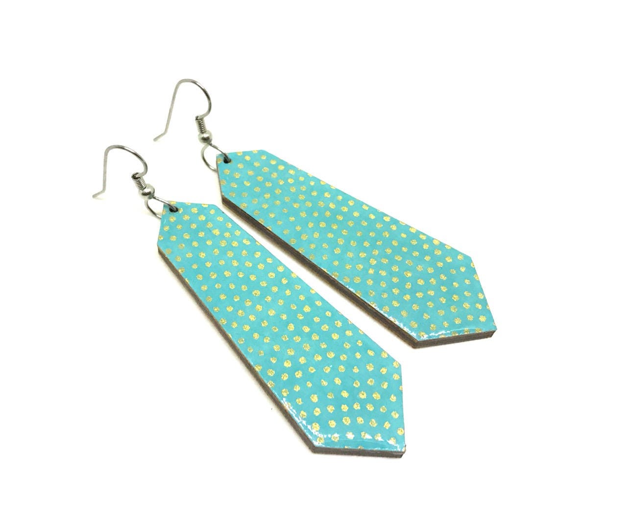 Aqua 2 sizes to chose from Modern Turquoise Japanese Paper Earrings Pattern will vary Large Dangles Laser cut Resin finish Chiyogami