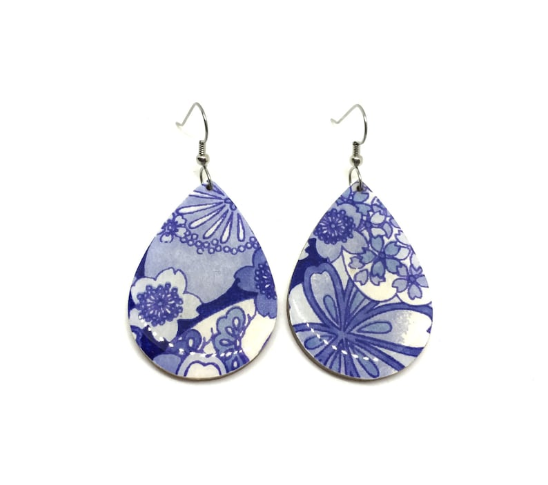 Tear Drop Earrings White and Blue Cherry Blossoms Japanese image 0