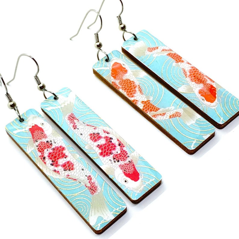 Koi earrings Long dangles Turquoise and Red japanese washi image 0
