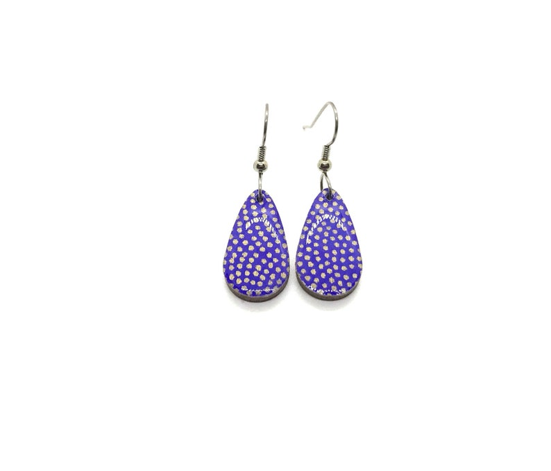 Blue Earrings gold polka dots Small Drop Japanese paper image 0