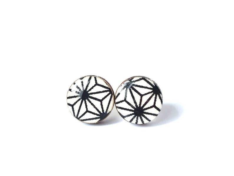 Black and White Stud Earrings Starburst Japanese Chiyogami image 0