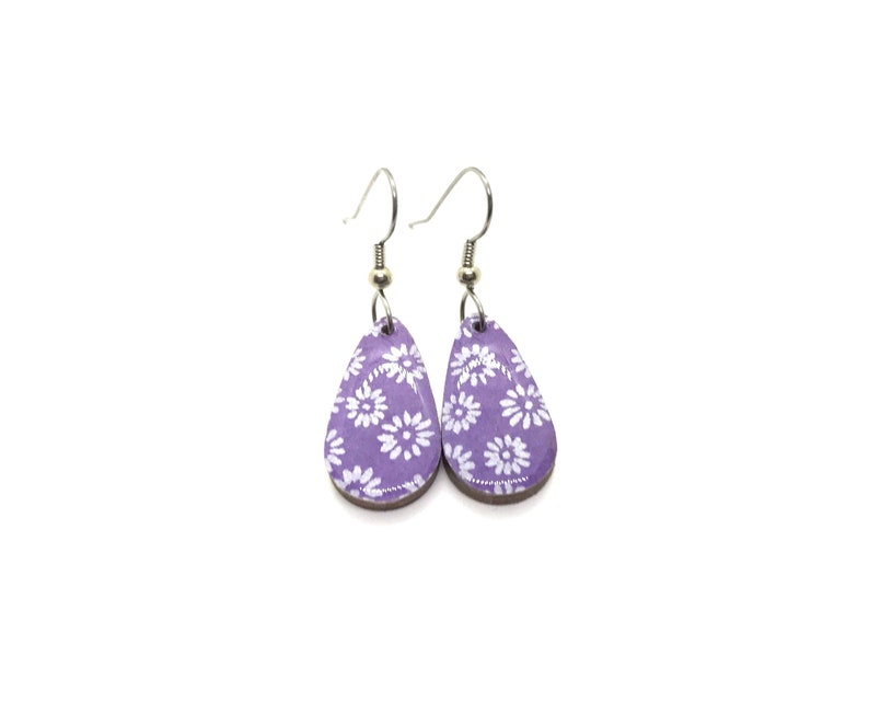 Japanese paper Earrings Purple and silver flowers Small image 0