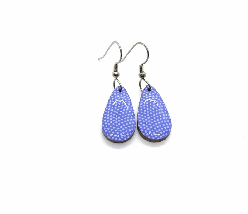 Periwinkle Earrings Small Drop Bridesmaid gift Chiyogami image 0
