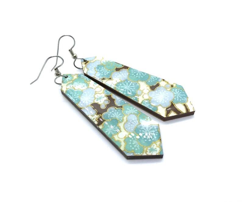 Cherry blossoms earrings Aqua Crystal Sakura Japanese image 0