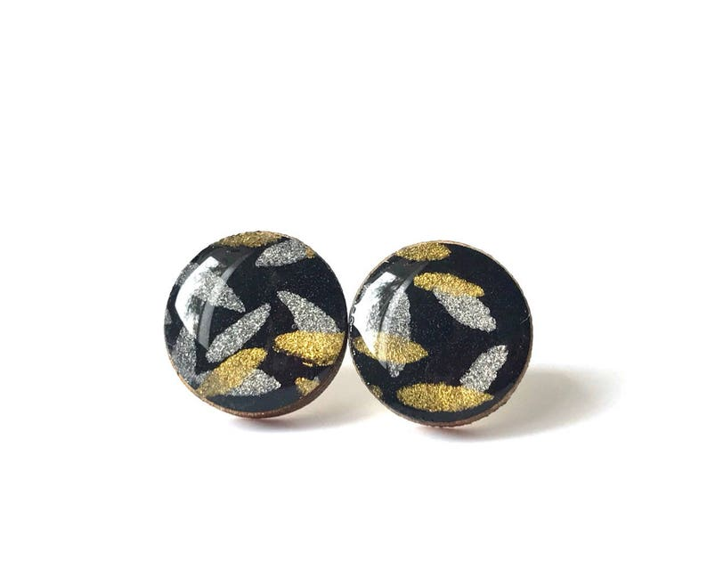Black gold and silver Stud Earrings Indian Paper Chiyogami image 0