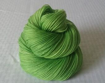"Hand dyed Yarn / Handdyed Yarn, Sock Yarn, Slight Gradient Yarn - ""Green Apple"" Tonal Yarn –  75/25 Superwash Merino and Nylon – 100g"