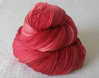"Hand dyed Yarn / Handdyed Yarn, Sock Yarn, Gradient Yarn - ""Santa Red"" Tonal Yarn –  75/25 Superwash Merino and Nylon – 100g"