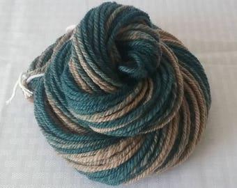 Handspun Yarn, Blue and Natural Tan 3 Ply - Tasman Comeback Wool - Worsted Yarn / Worsted Weight – 102 yards