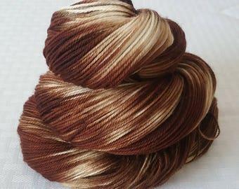 "Handdyed Yarn / Hand dyed yarn, Sock Yarn – Tonal Yarn – Brown ""Mocha Latte"" – Marbled Yarn Collection - SW Merino/Nylon – 100g"