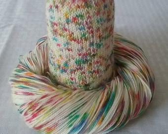 "Handdyed Yarn / Hand dyed yarn, Rainbow Speckled Yarn, Sock Yarn - Rainbow Yarn / ""Sunshine & Rainbows"" - Superwash Merino and Nylon – 100g"