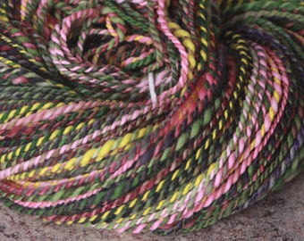 "Handspun Yarn, Merino Wool - Worsted Weight – ""Spring Bouquet"", Green, Pink,  Dark Purple, Yellow – 226 yards"