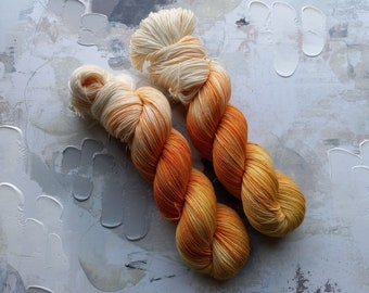 Candy Corn - Hand dyed Yarn / Handdyed yarn, Sock Yarn, Wool Yarn - Yellow, orange, White - HT BFL, Classic Sock - Fingering Yarn- 100g