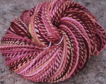 """Handspun Yarn, Merino Wool - Worsted Weight – """"Love Potion"""" with Peach, Cabernet, Purple, Pink, and Cream / 100 yards each"""