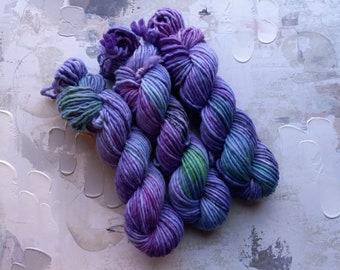 Siren of the Sea - Hand dyed Yarn / Handdyed yarn, Bulky Yarn, Chunky Yarn, Wool Yarn, Purple, Pink, Green - Single Ply - SW Merino / Nylon