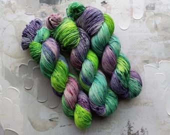 Nebula Cloud - Hand dyed Yarn / Handdyed yarn, Sock Yarn, Wool Yarn - Green, Teal, Blue, Purple - HT BFL, Classic Sock - Fingering Wt - 100g