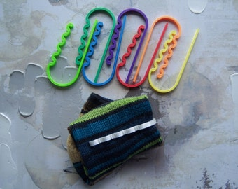 Sock Clips, Sock Drawer Organizers for Hand-Knit Socks, Rainbow Sock Clips or Multi-colored Sock Clips