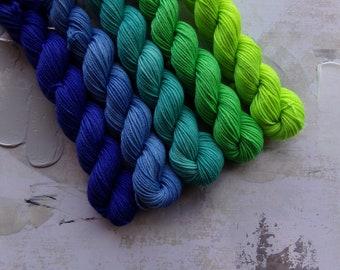 Cool Vibes gradient set, Hand Dyed Yarn / Handdyed yarn, Sock Yarn, Wool yarn - Neon Green, Teal, Indigo Blue - 100g sets