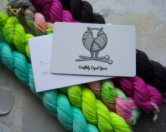 Gift Card for Hand-dyed Yarn and knitting / crocheting tools and accessories, Gift Card with envelope
