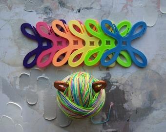 Yarn Bobbins, Yarn Winder, Yarn Holder, Rainbow set of Yarn Bobbins, Large or Small, Set of 6
