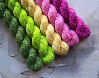 Azalea mini skein set, Hand Dyed Yarn / Handdyed yarn, Sock Yarn, Wool yarn, 10g, 20g, and 50g sets