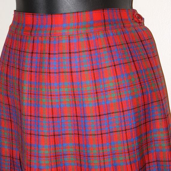 Accordian Pleated skirt Plaid Midi skirt Small ski