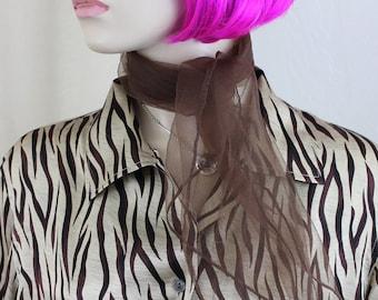 Vintage Chocolate Brown Scarf Nylon Chiffon Neck Scarf