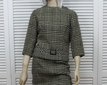 Vintage Handmacher Houndstooth Two Piece Suit 1950s Size Small/Medium
