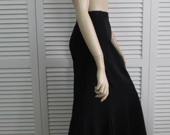 Vintage Long Black Fluted Skirt Miss Shaheen Size 8 1970s