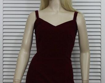 Vintage Evening Dress Red VelvetLong Velvet Wiggle Dress Size Small