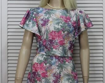 Vintage 80s Dress Light Summer Tropical  Flutter Sleeves Size