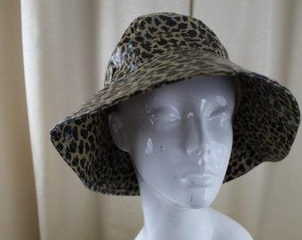 Vintage 70 s Style Rain Hat Animal Print 8e592e58223d