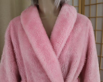 Vintage Borg Robe Pink Size Medium Plush Rare Color 53d944cce