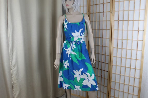 Vintage Malia Sun Dress Blue Floral  1960's Size M