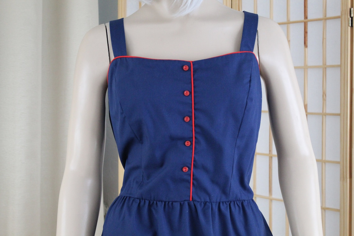 Vintage Blue/Red Sun Dress Serbin by Marianne 1970's Size