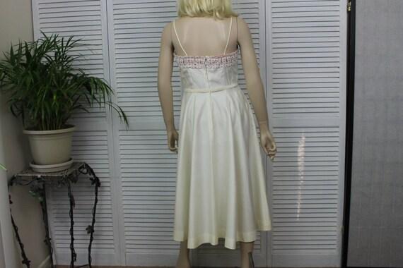 Vintage Ivory Long 1950s Dress by Natlynn Size 15 - image 4