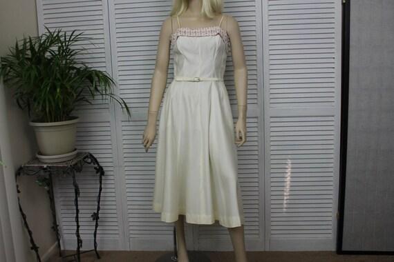Vintage Ivory Long 1950s Dress by Natlynn Size 15 - image 1