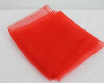 Vintage Scarf Red Nylon Chiffon 1950s Larger Size