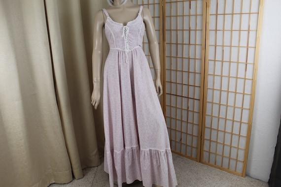 Vintage 1970's Gunne Sax Sleeveless Cotton Long D… - image 2