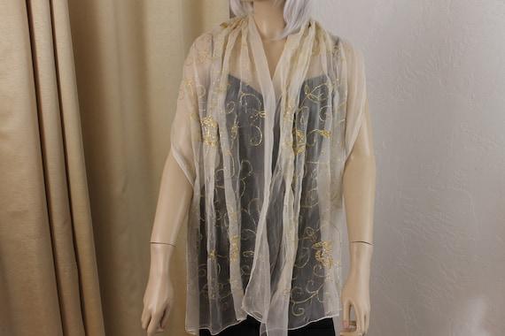 Vintage Beige Chiffon and Gold Metallic Silk Chif… - image 5