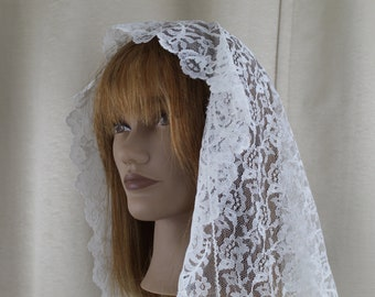 Vintage White Lace Chapel Veil/Mantilla Veil