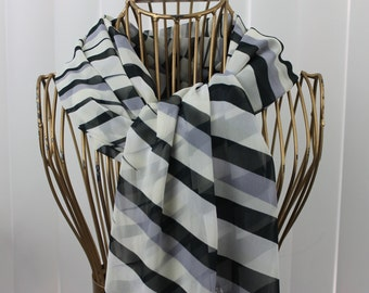 Vintage Scarf X Large Black, Grey and White Nylon Chiffon