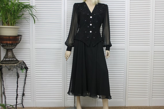 Vintage Two Piece Black Chiffon Evening Skirt and