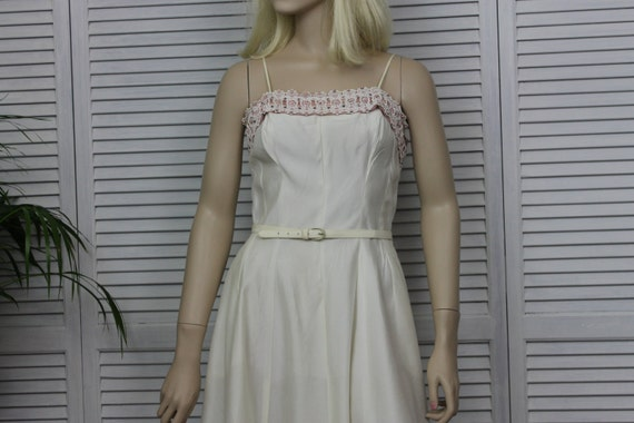 Vintage Ivory Long 1950s Dress by Natlynn Size 15 - image 2