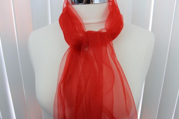Vintage Scarf Wrap Long Chiffon Bright Red 1950s 6