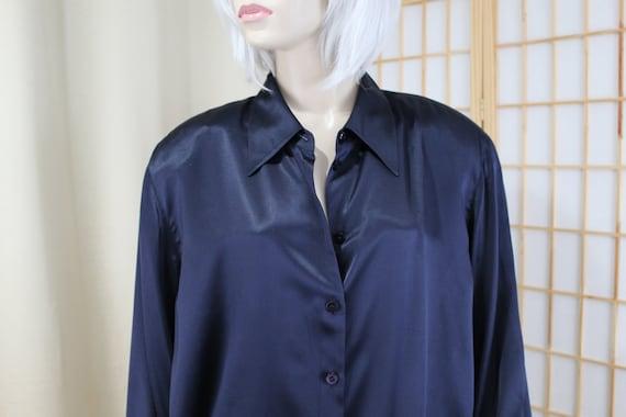 Vintage Navy Blue Pure Silk Blouse Elisabeth By Li