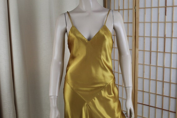 Vintage Liquid Satin Gold Nightgown Size S/M Long