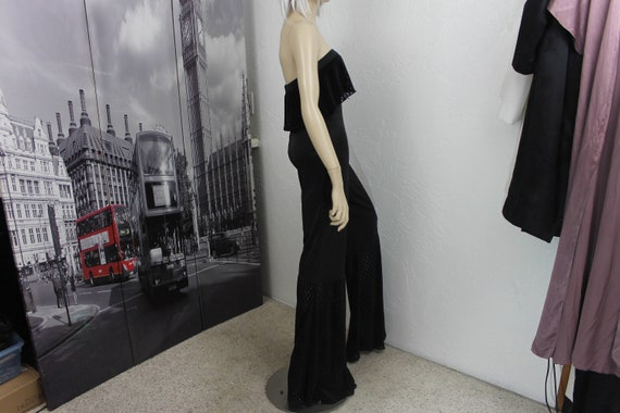 Vintage Black Jumpsuit Bell Bottoms Black Nylon Si