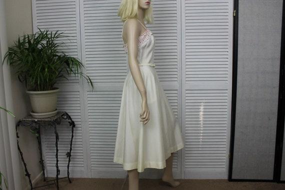 Vintage Ivory Long 1950s Dress by Natlynn Size 15 - image 3