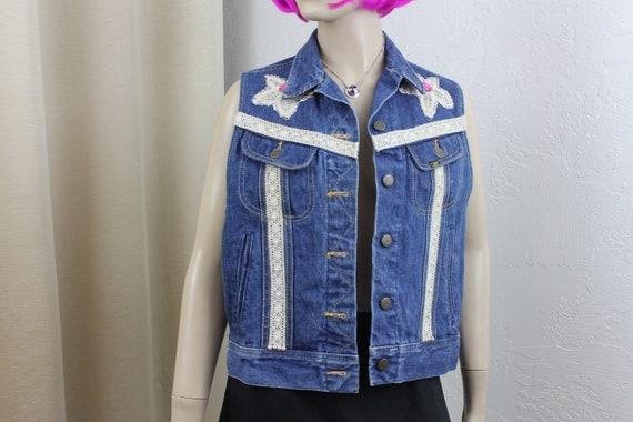 Vintage Ms Lee Denim Vest Bejeweled Size 13 Medium