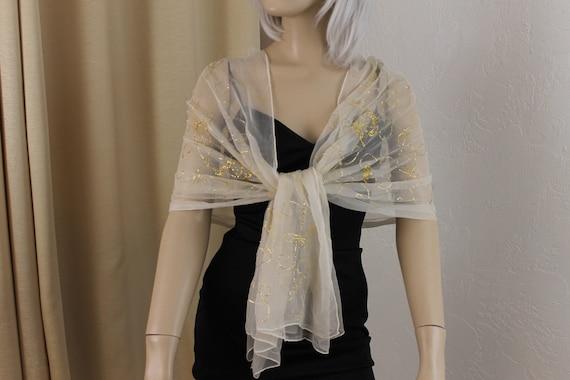 Vintage Beige Chiffon and Gold Metallic Silk Chif… - image 1